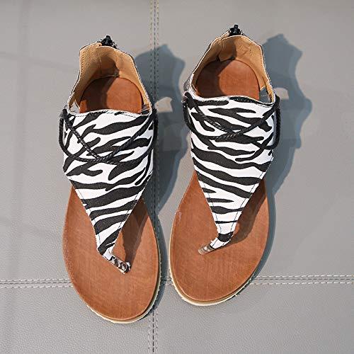 Sandalias Mujer Verano Chanclas para Mujer Sandalias De Dedo para Mujer Playa Cuero Slingback Peep Toe Talla Grandes,Zebra-37