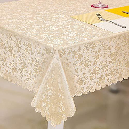 ZXCN Mantel para Mesa de Cocina o Salón Hojas Rectangular PU Modern Impermeable Lavable Diseño de Comedor decoración del Hogar Light Champagne 140×220cm