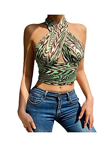 N /C Top halter de mujer entrecruzado, sin mangas, abstracto, estampado a rayas, con estampado de rayas, para mujer