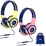 2 Pack of SIMOLIO Kids Headphone with 75dB, 85dB, 94dB Volume Limited, Durable & Foldable Headphones with Mic for Kids, On-Ear Children Headphones with Storage Bag for Travel,School Daily(Pink,Yellow)