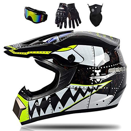 Youth Motorradhelm, Kinder-Cross-Helm Full Face MTB Downhill Helm mit Brille Maske Handschuhe, Erwachsene Cross Enduro Motorradhelm für Mountainbike Moped Bergbuggy Sport Sicherheit,XL