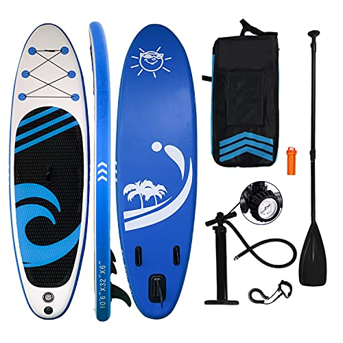 HIJOFUN SUP Board Aufblasbare Stand Up Paddle Board 150kg 320x80x15cm 6 Zoll Dick with Paddling Board Zubehör für und Jugendliche Blau