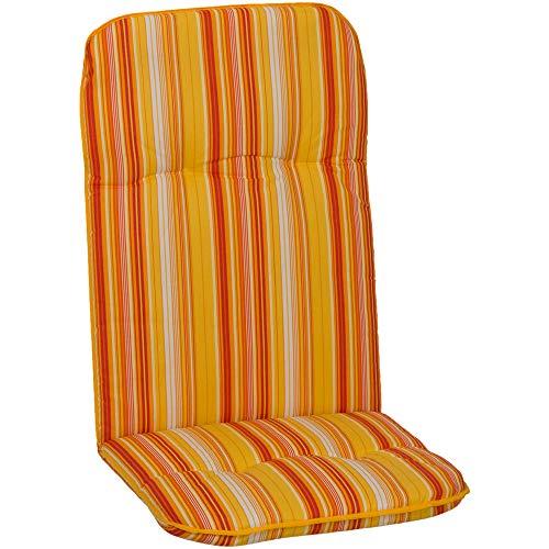nxtbuy Gartenstuhl-Auflage Capri 114x47 cm Orange Stripes 2er Set - Hochlehnerauflage für Gartenstühle - Stuhlauflage mit Komfortschaumkern -...