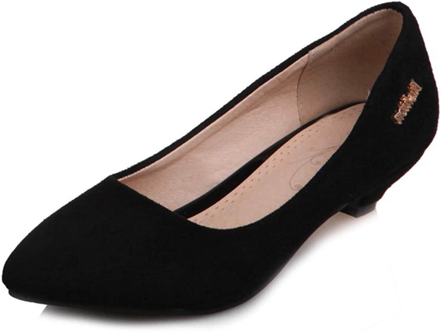 GIY Women's Pointed Toe Casual Oxfords Loafers shoes Suede Slip-On Low Wedge Heels Retro Dress Pumps