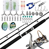 Dr.Fish Catfish Rod and Reel Combo Kits with Tackles 7ft Heavy Catfishing Fishing Pole Baitfeeder Spinning Reel Travel Portable Catfishing Set Up
