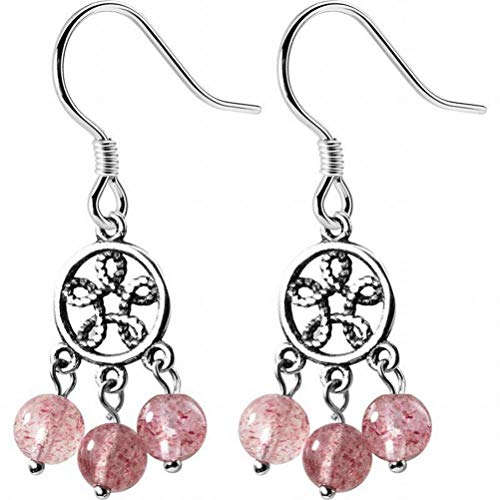 BinLZ S925 Silver Dream Catcher Earrings Female Thai Silver round Pink Strawberry Crystal Earrings Crystal ear Jewelry Female, S925 silver earrings
