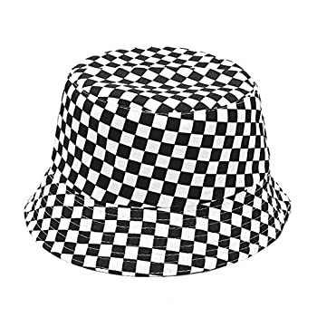 Reversible Cotton Bucket Hat Fashion Checker Fisherman Cap Packable Sun Hat