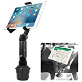 Cup Holder Tablet Mount, Tablet Car Cradle Holder Made by Cellet Compatible for 2021 iPad Pro New Air iPad Mini Samsung Galaxy Tab S7 S6 Lite S5e A7 Amazon Fire 7 HD 10 9 Microsoft Surface Go2 etc.