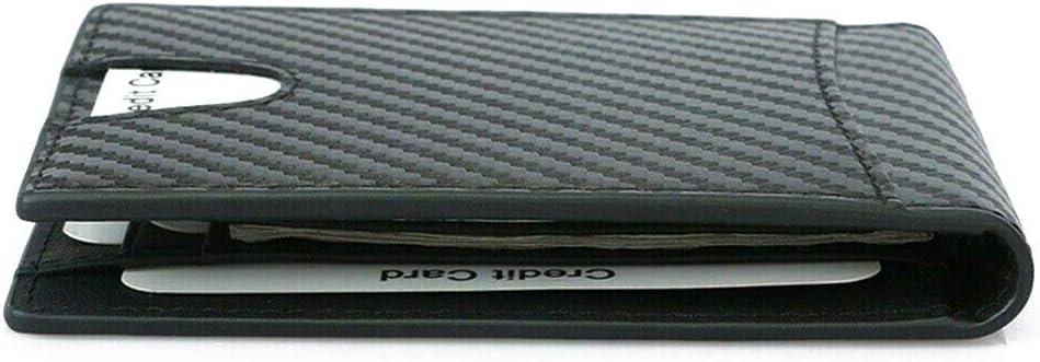 Leather Slim Men's Wallet Carbon Fiber Blocking Case with Money Clip vet6112102