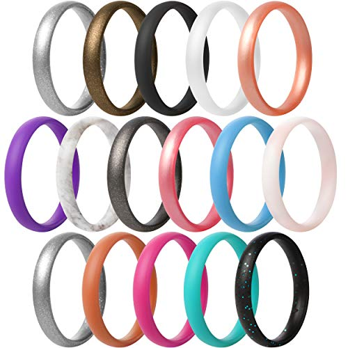 Thunderfit Super Thin Stackable Silicone Rings Wedding Bands - 16 Rings (6.5 - 7 (17.3mm)