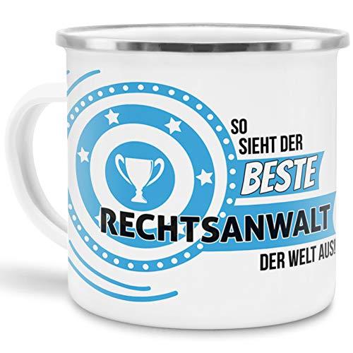 Emaille-Tasse mit Spruch So Sieht der Beste Rechtsanwalt der Welt aus - Beruf/Arbeit/Hobby/Edelstahl-Becher/Metall-Tasse/Kollege