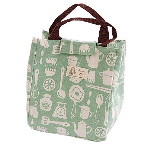 WeiMay Paquet de boîte à lunch Étudiants Art du drap Coton et lin Sac à lunch Grand Avec sac de riz Sac d'isolation Sac à main Sac à lunch box (Vert)