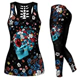 Women 2 Piece Outfits Skull Printed Tank Tops Yoga Leggings Sportwear Tracksuits Jogger Set Activewear Yoga Outfit Suits (L)