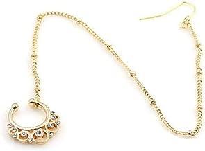 Kiokioa Fake Faux Rhinestone Septum No-Piercing Ear Chain Studs Nose Nail Ring Hoops Clip