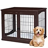 AVAWING Decorative Dog Kennel with Pet Bed, Wooden Wire Dog House with Double Doors, Large Indoor Pet Crate Side Table (Brown)