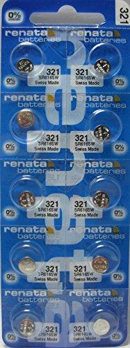 Renata 321 SR616SW SR616 D321 V321 SR65 GP321 LR65 Silver Oxide Mercury Free Electronic Batteries x 10