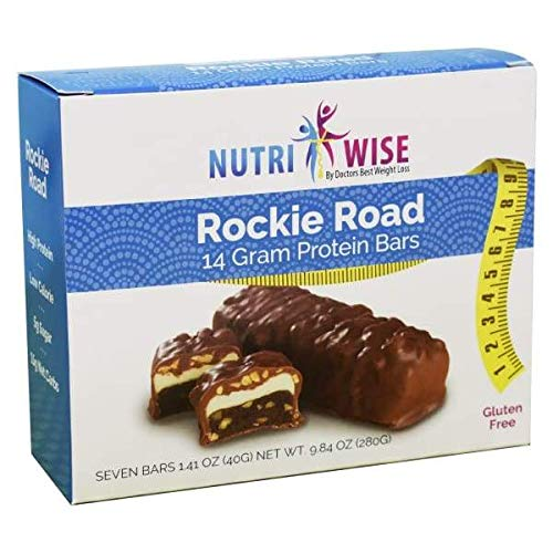 NutriWise - Rockie Road Diet Bar | Low Sugar, Low Fat, Low Cal, High Protein, Gluten Free (7/Box)