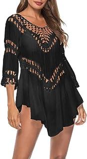 comprar comparacion Bohemia Borla Camisolas y Pareos para Mujer, Dragon868 Sexy Hueco Crochet Vestidos de Playa, Suelto V-Cuello Mini Vestido,...