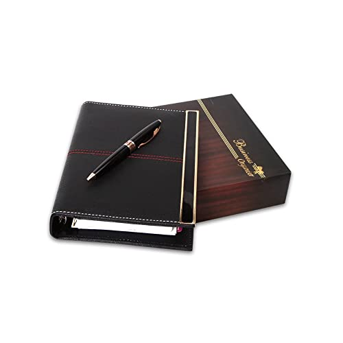 COI Faux Leather Executive Organizer Diary 2020 / Stationary Organizer Daily Planner with Pen (Royal Black)