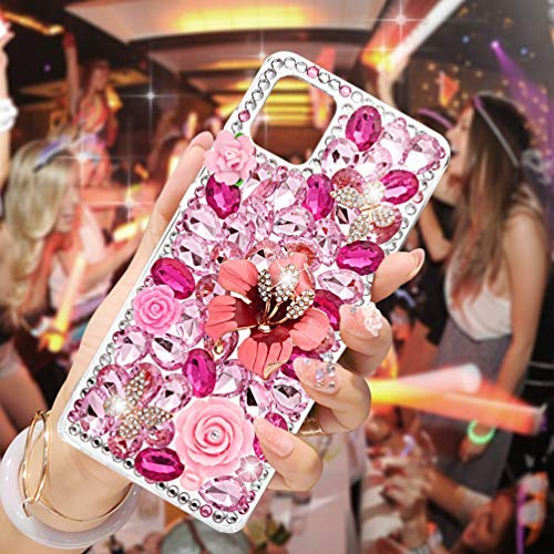 Mavis's Diary Samsung Galaxy Note10 Lite Case, 3D Handmade Luxury Bling Crystal Pink Peony Rose Floral Colorful Shiny Crystal Diamond Glitter Rhinestone Gems Clear Hard PC Cover