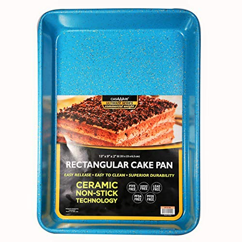 casaWare 13 x 9 x 2-inch Ultimate Series Commercial Weight Ceramic Non-Stick Coating Rectangular Cake Pan (Blue Granite)