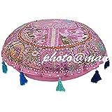 Maniona Crafts - 32 pulgadas rosa decorativo patchwork indio piso almohada cojín...