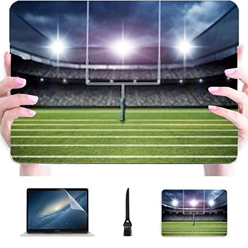 4 in 1 Laptop Case for MacBook 13 inch New Pro USB-C 2020 Case A2289/A2251,Plastic Hard Shell Case Cover and Mouse Pad & Screen Protector,American Football Stadium 3D Rendering