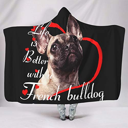 NeiBangM Frenchie Life is Beter flanel fleecedeken extreem warm in de woonkamer plafond