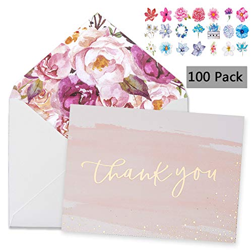 100 Thank You Cards With Envelopes 4x6 Gold Foil Bridal Thank You Cards for Kids or Baby Shower Thank You Note Watercolor Foliage Thank You Cards For Wedding Birthday Party Graduation Boy or Girl