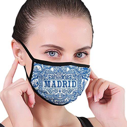 Komfortable Winddichte Maske, Madrid Kalligraphie Traditionelle bemalte Zinn Grafikfliese Azulejo Print