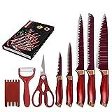 Küchenmesser 7-teilig Edelstahl Messer Set Scissor Obst Gemüseschäler Küchenmesser Geschenkbox...