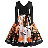 Esque Vestido de Halloween para Mujer, Estampado de Calavera, Vestido de Fiesta...