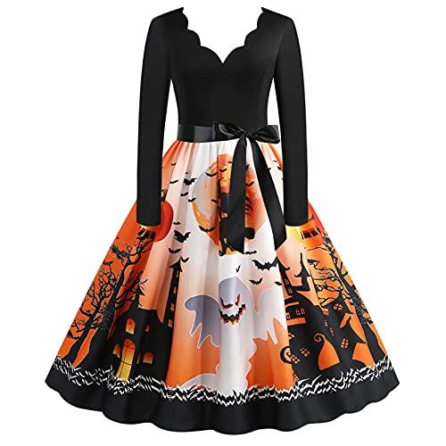 abito donna halloween Briskorry Vestito da donna a maniche lunghe per Halloween
