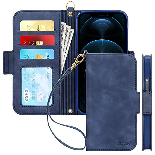 "Skycase Compatible for iPhone 12 Case/Compatible for iPhone 12 Pro Case,[RFID Blocking]Handmade Flip Folio Wallet Case with Card Slots and Detachable Hand Strap for iPhone 12/12 Pro 6.1"" 2020,FG-Navy"