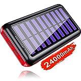 KEDRON Power Bank Solar 24000mAh 3 Puertos de Salida y Entrada Doble Cargador Móvil Portátil Batería Externa para Tablet y Smartphones