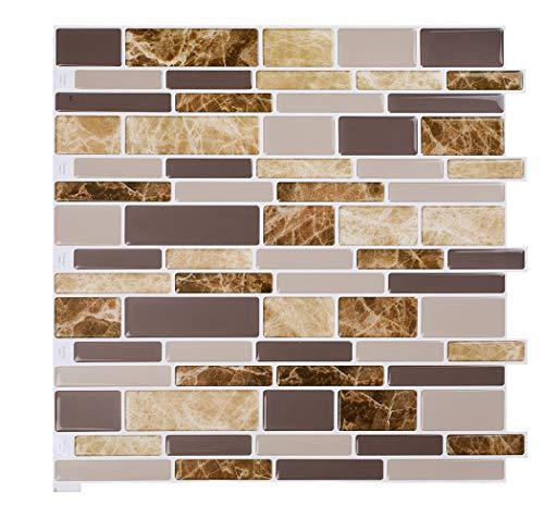Vamos Tile 10 Sheets Peel and Stick Kitchen - 12  x 12  Premium Tile Backsplash 3D Wall Tiles