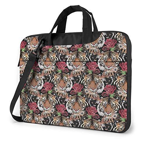 Laptop Messenger Laptop Bag Tiger Face Hipster Rose Floral Bolso de Hombro Maletín Oficina Funda para computadora portátil Satchel Tablet para Hombres Mujeres