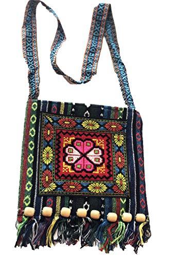 Ablamshop/Kelimtasche Kelim-Stoff, Hippie-Tasche, Geldbörse für Damen, Herren Ethno Boho Goa Tasche Umhängetasche, Henkeltasche mit fransen für das Tragen schräg über den Körper