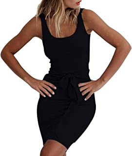 Womens Casual Sexy Bodycon Mini Dress,Sleeveless Lace Up Beach Solid Color Vest Sundresses