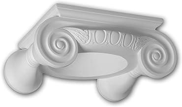 PRO[f]home® - Volle zuilen kapiteel 411201 Gevellijst Zuil Gevelelement Ionische stijl wit