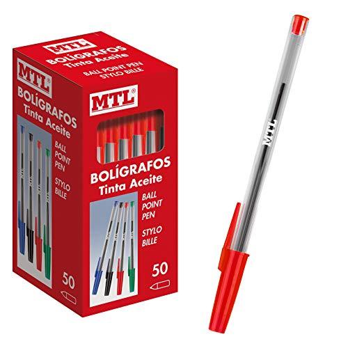 Dohe - Caja de bolígrafos con capucha - 1,0 mm - 50 uds - Rojo