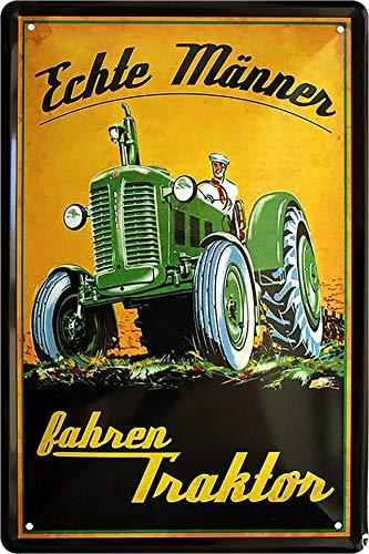 """Blechschilder Lustiger Traktor Spruch: """"ECHTE MÄNNER Fahren Traktor"""" Deko Metallschild Schild Geschenkidee für Bauern & Trecker Fans 20x30 cm"""