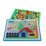 XLY Juguetes para Niños Juguetes Educativos, Pared Perforada De Hongos Uñas Jigsaw Puzzle Peg Juego 3D Mosaico Imagen Compuesta Intelectual Juguetes Educativos,1