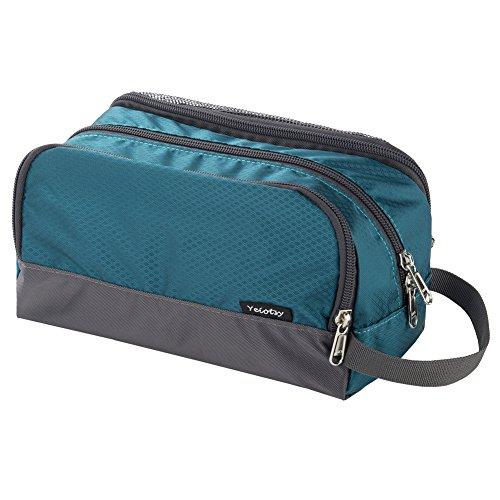 Small Wash Bag, Yeiotsy Ultra-thin Travel Shaving Kit Mesh Toiletry Bag for Kids Toiletry Organizer Dopp Bag for Outdoors (Emerald Green)