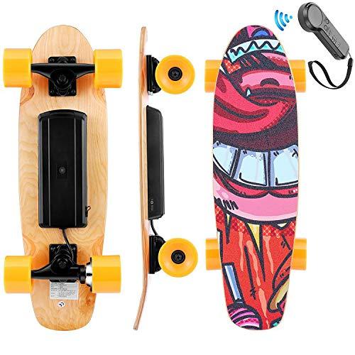 WOOKRAYS Skateboard eléctrico con control remoto, motor de 350 W, velocidad máxima...