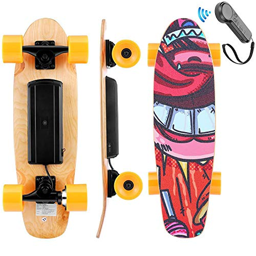 WOOKRAYS Skateboard eléctrico con control remoto, motor de 350 W, velocidad máxima de 20 km / h, ajuste de 3 velocidades, patineta eléctrico para niños, adolescentes, adultos (Naranja)