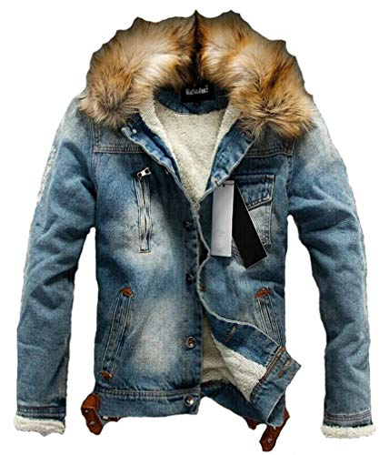 Lavnis Men's Denim Fleece Jacket Casual Faux Fur Collar Sherpa Coat Jeans Trucker Jacket Blue XL