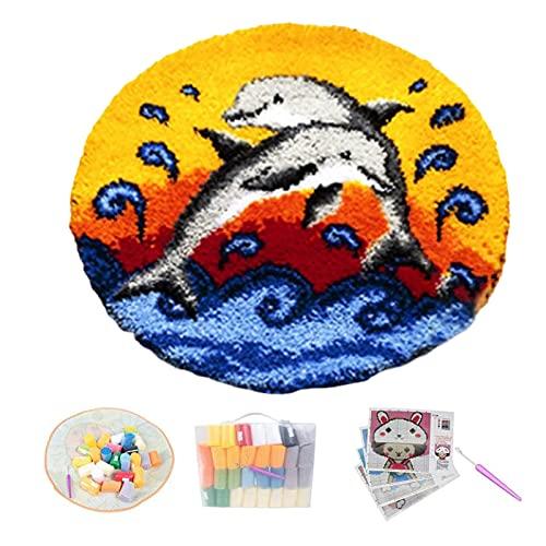 ZYUN Delfín Latch Hook Kit Cushion Cover DIY Delfín Latch Hook Rug Kits Kit Ganchillo Alfombras...