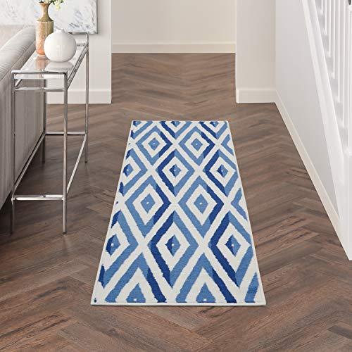 Nourison Whimsicle Modern Geometric Ivory Blue 8' Runner Area Rug , 2' x 8'
