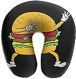 Hdadwy Almohada de Espuma viscoelástica para el Cuello Dabbing Dab Burger Almohada de Viaje en Forma de U Diseño ergonómico Contorneado Funda Lavable para avión Tren Coche Autobús Oficina